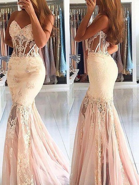 Mermaid Sleeveless Sweetheart Sweep Train Pink Tulle Prom Dresses