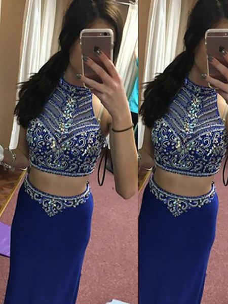 Sheath/Column Sleeveless Halter Long Royal Blue Satin Prom Dresses