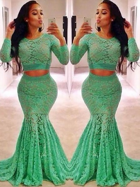 Mermaid Long Sleeves Scoop Sweep Train Green Lace Prom Dresses