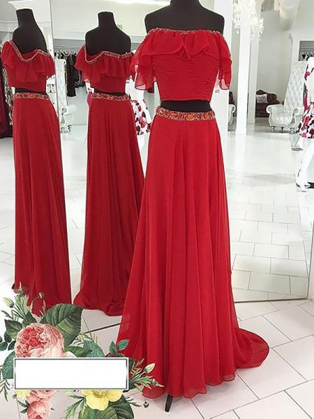 A-Line/Princess Sleeveless Off-the-Shoulder Long Red Chiffon Prom Dresses