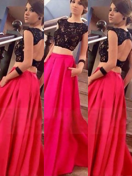 A-Line/Princess Sleeveless Bateau Long Fuchsia Satin Prom Dresses