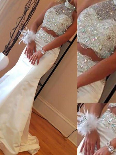 Mermaid Sleeveless High Neck Sweep Train White Satin Prom Dresses