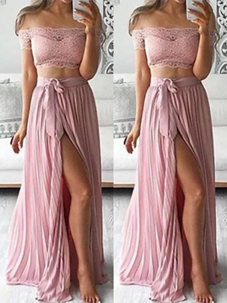 A-Line/Princess Sleeveless Off-the-Shoulder Long Pink Chiffon Prom Dresses