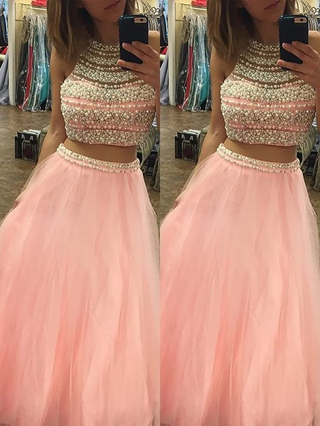 A-Line/Princess Sleeveless Halter Long Pink Tulle Prom Dresses
