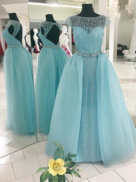 Ball Gown Sleeveless Bateau Long Light Sky Blue Tulle Prom Dresses