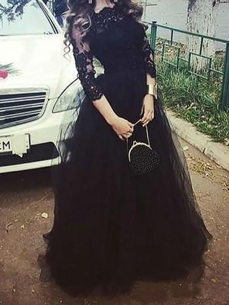 Ball Gown 3/4 Sleeves Bateau Long Black Tulle Prom Dresses