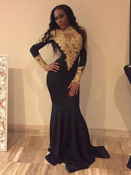 Mermaid Long Sleeves Bateau Sweep Train Black Satin Prom Dresses