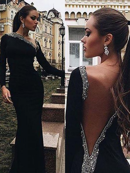 Mermaid Long Sleeves One-Shoulder Floor-Length Black Spandex Prom Dresses