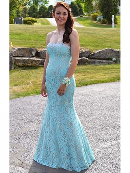 Mermaid Sleeveless Sweetheart Long Light Sky Blue Lace Prom Dresses