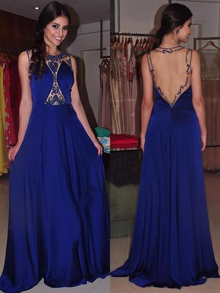 A-Line/Princess Sleeveless Bateau Sweep Train Royal Blue Chiffon Prom Dresses