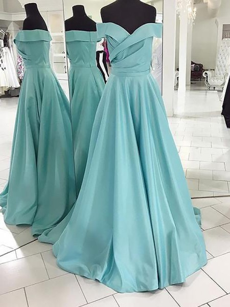 A-Line/Princess Sleeveless Off-the-Shoulder Sweep Train Green Satin Prom Dresses