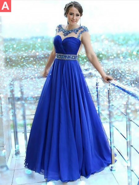 A-Line/Princess Sleeveless Bateau Long Royal Blue,Regency Chiffon Prom Dresses