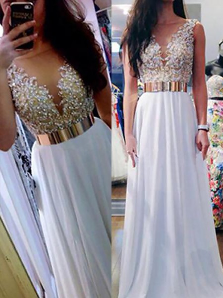 A-Line/Princess Sleeveless V-neck Long White Chiffon Prom Dresses