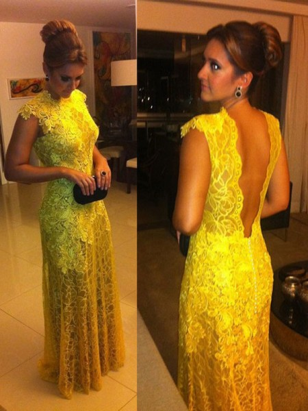 A-Line/Princess Short Sleeves High Neck Long Yellow Lace Prom Dresses