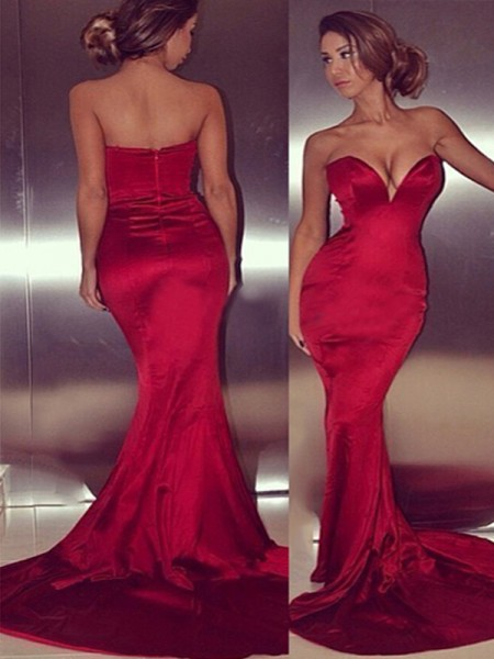 Mermaid Sleeveless Sweetheart Court Train Red Satin Prom Dresses