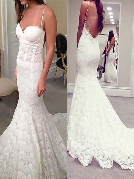 Mermaid Sleeveless Spaghetti Straps Court Train Ivory Lace Wedding Dresses
