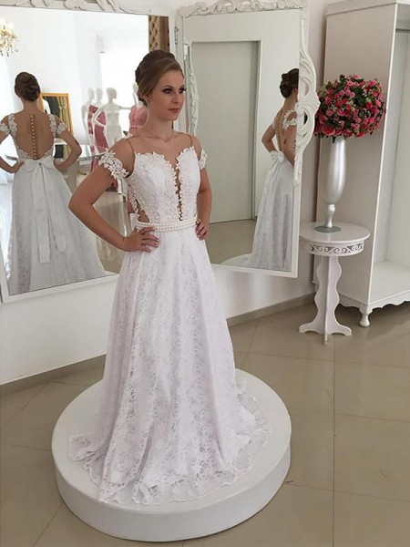 A-Line/Princess Short Sleeves Scoop Sweep Train Ivory Lace Wedding Dresses