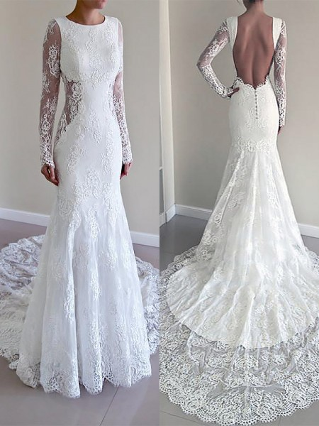 Mermaid Long Sleeves Scoop Court Train Ivory Lace Wedding Dresses