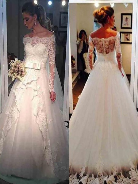 Ball Gown Long Sleeves Off-the-Shoulder Sweep Train Ivory Tulle Wedding Dresses