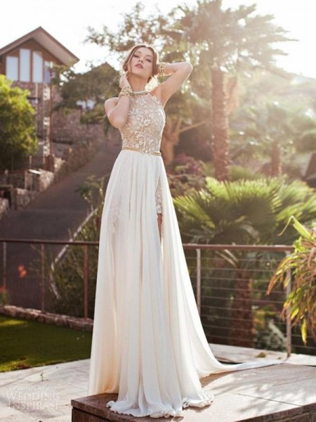 A-Line/Princess Sleeveless Halter Sweep Train Ivory Chiffon Prom Dresses