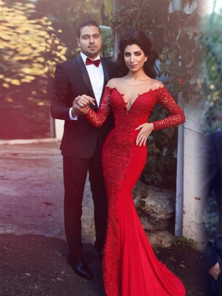 Mermaid Long Sleeves Scoop Sweep Train Red Chiffon Prom Dresses