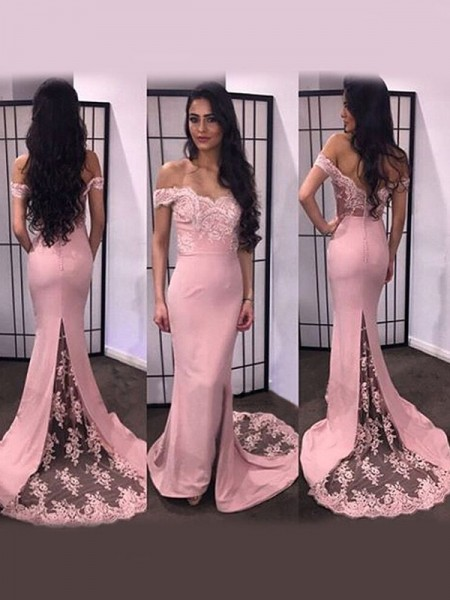 Mermaid Long Sleeves Off-the-Shoulder Sweep Train Pink Satin Prom Dresses