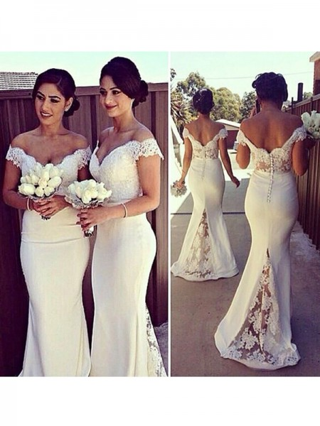 Mermaid Sleeveless Off-the-Shoulder Sweep Train Ivory Satin Prom Dresses