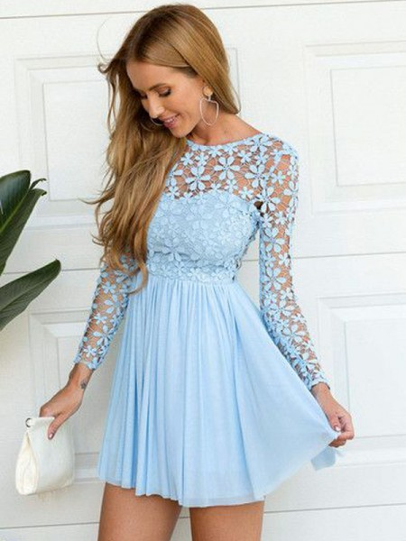 A-line/Princess Long Sleeves Scoop Short Blue Chiffon Homecoming Dresses
