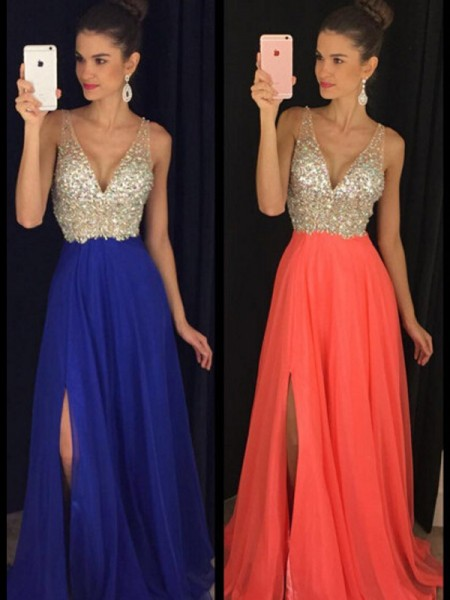 A-Line/Princess Sleeveless V-neck Long Royal Blue,Orange,Light Sky Blue Chiffon Prom Dresses