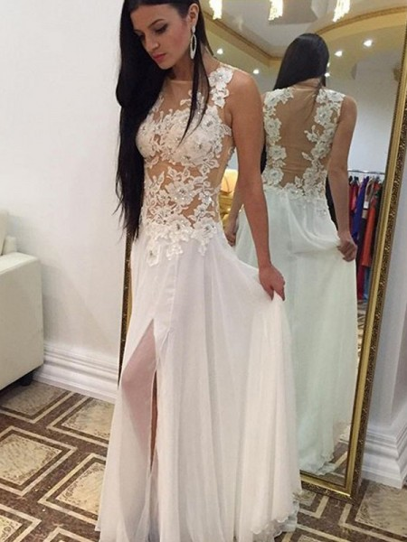 A-Line/Princess Sleeveless Scoop Long White Chiffon Prom Dresses
