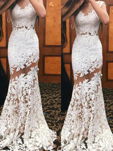 Mermaid Sleeveless Scoop Sweep Train White Lace Prom Dresses