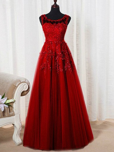 A-Line/Princess Sleeveless Scoop Long Red,Pink Tulle Prom Dresses