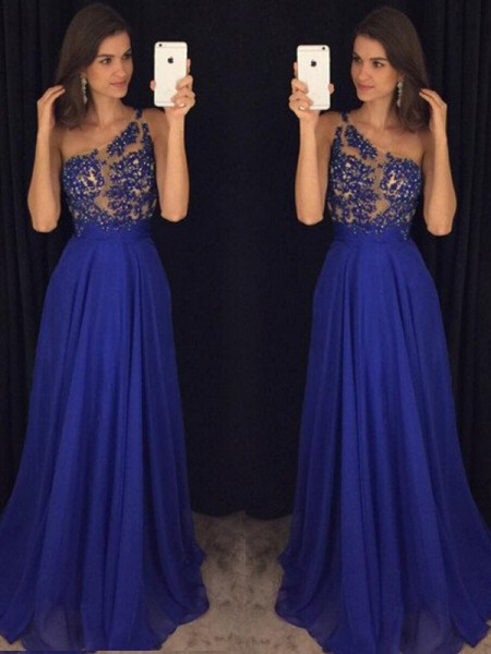 A-Line/Princess Sleeveless One-Shoulder Long Royal Blue Chiffon Prom Dresses