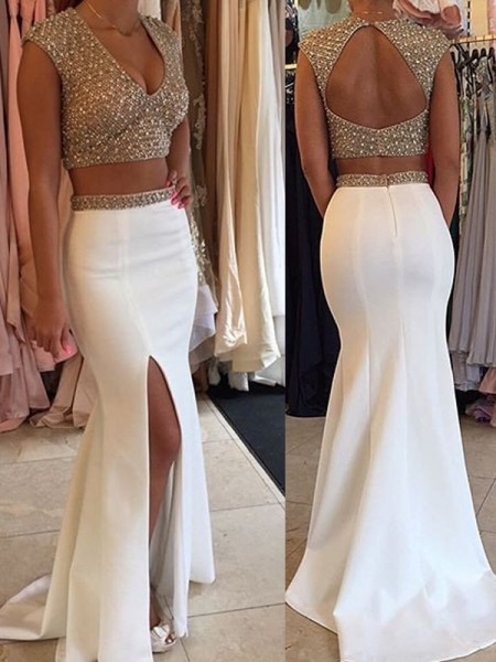 Mermaid Sleeveless V-Neck Sweep Train White Satin Prom Dresses