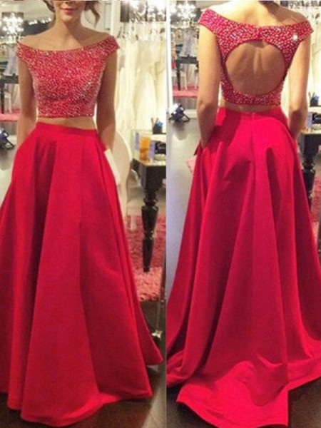 A-Line/Princess Sleeveless Bateau Sweep Train Red Satin Prom Dresses