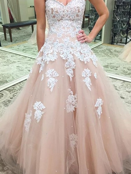 Ball Gown Sleeveless Sweetheart Long Pink Tulle Prom Dresses