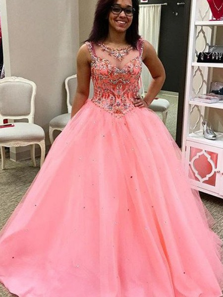 Ball Gown Sleeveless Sweetheart Long Watermelon Tulle Prom Dresses