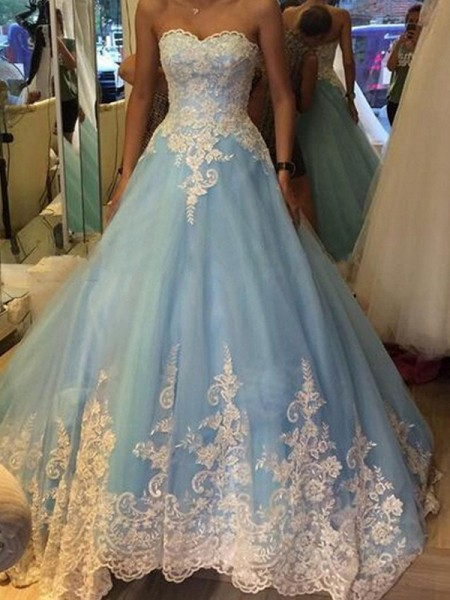 Ball Gown Sleeveless Sweetheart Long Blue Tulle Prom Dresses