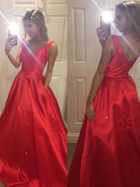 A-Line/Princess Sleeveless V-Neck Sweep Train Red Satin Prom Dresses