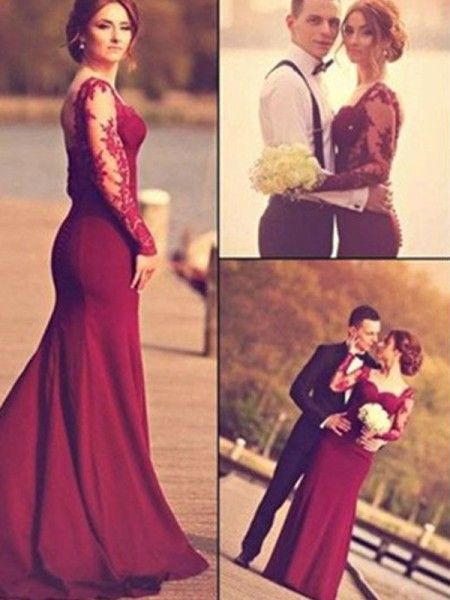 Mermaid Long Sleeves Sweetheart Long Burgundy Satin Prom Dresses