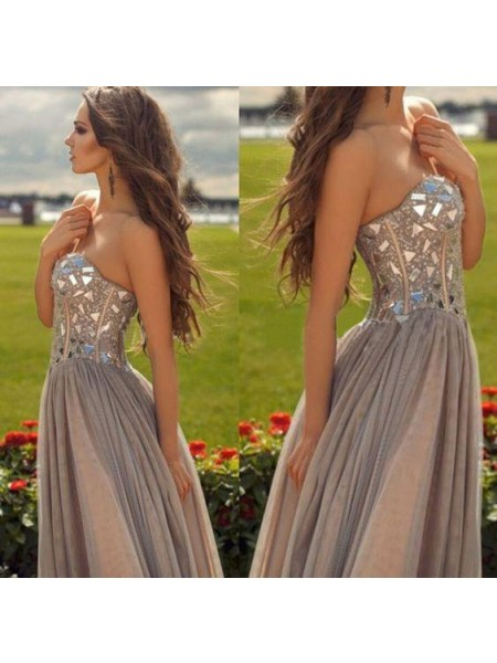A-Line/Princess Sleeveless Sweetheart Long Champagne Chiffon Prom Dresses