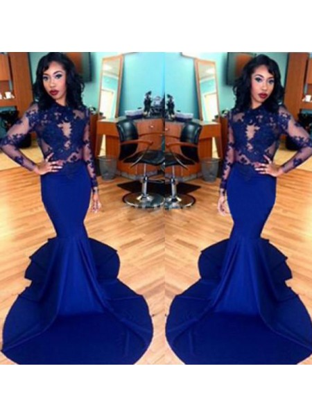 Mermaid Long Sleeves Scoop Sweep Train Royal Blue Satin Prom Dresses