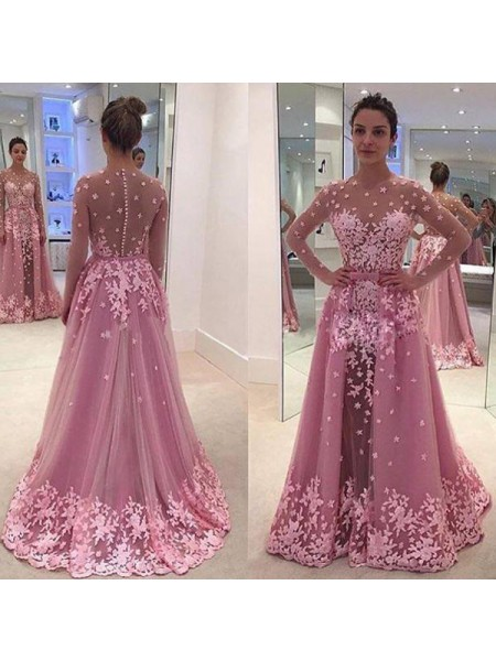 A-Line/Princess Long Sleeves Scoop Long Pink Tulle Prom Dresses