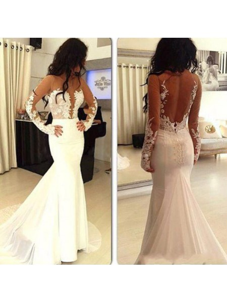 Mermaid Long Sleeves Scoop Sweep Train White Satin Prom Dresses