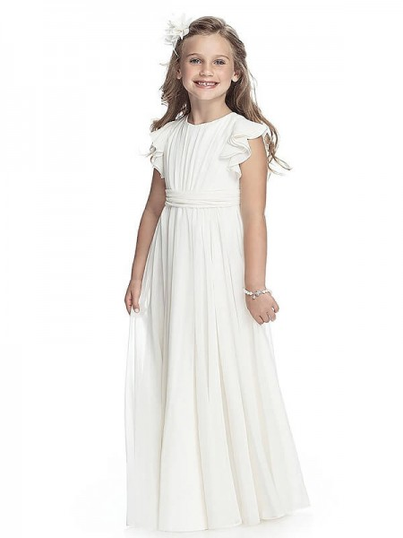 A-line/Princess Sleeveless Scoop Long White Chiffon Flower Girl Dresses