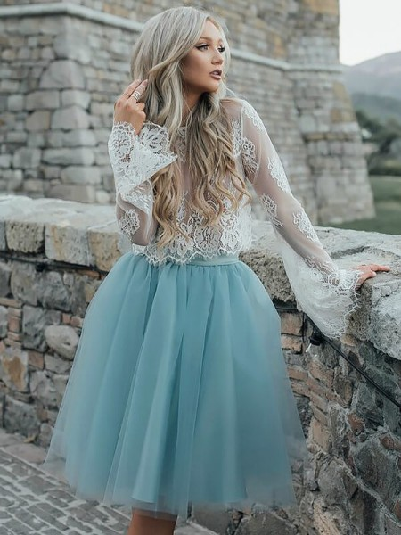 A-line/Princess Long Sleeves Scoop Short Light Sky Blue Tulle Homecoming Dresses