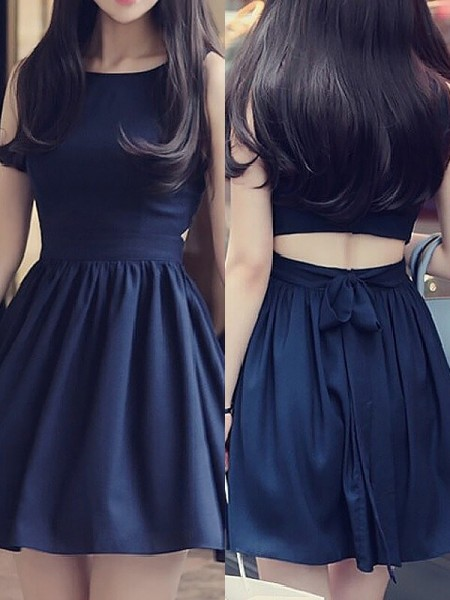 A-line/Princess Sleeveless Scoop Short Dark Navy Chiffon Homecoming Dresses