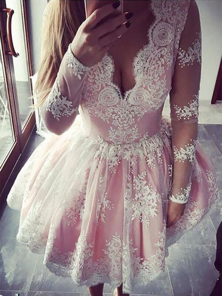 A-line/Princess Long Sleeves V-neck Short Pink ace Homecoming Dresses