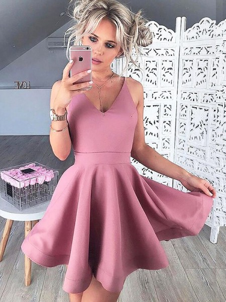 A-line/Princess Sleeveless V-neck Short Pink Satin Homecoming Dresses