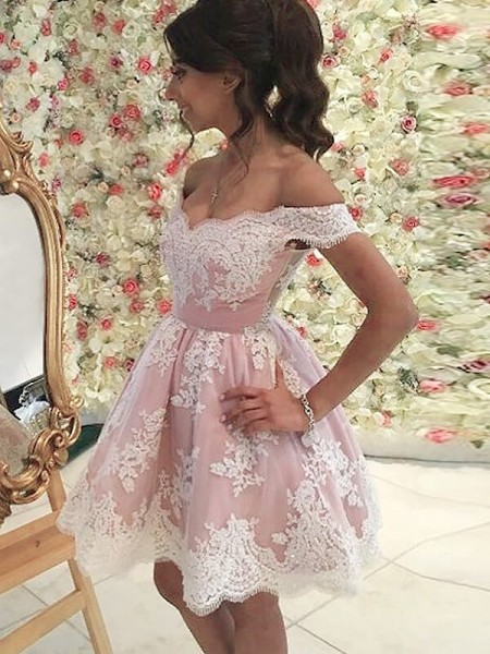 A-line/Princess Sleeveless Off-the-Shoulder Short Pink Tulle Homecoming Dresses